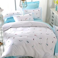 4pcs luxury Egypt Cotton Fresh Bedding set Embroidered feathers Duvet Cover set bed Sheet pillowcases Queen King size bed linen