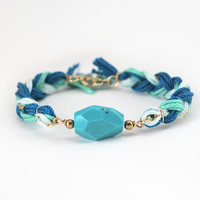 Faceted howlite stone bracelet, turquoise braid bracelet with faceted stone, boho bracelet