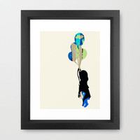 Girl with Balloons Framed Art Print by Designed Identity | Society6