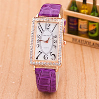 Girls Womens Unique Leather Strap Watch with Diamond Best Christmas Gift  Watch-432