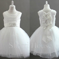 Beads White Wide Straps Crew Bowknot Ball Gown Long Flowergirl Celebrity Dress , Tea Lengh Tulle Evening Party Prom New Homecoming Dress