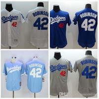 Mens L.A. Los Angeles Dodgers Jackie Robinson White Blue Gray Flexbase Jersey, Los Angeles Dodgers #42 Jackie Robinson Throwback Jersey