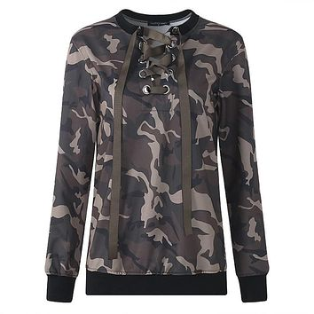Lace Up Hollow Out Army Printed Pullover Sweatshirt