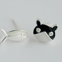 Asymmetric cat and fish 925 sterling silver earrings, a perfect gift