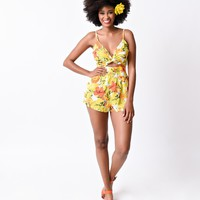 Retro Style Yellow & Orange Tropical Floral Summer Romper