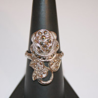 Vintage Sterling Silver and Hematite Rose Ring Size 7.75 - free ship US