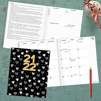 July 2021-June 2022 Hearts & Gold Large Monthly Planner