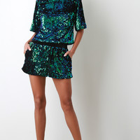 Two Tone Sequined Shorts