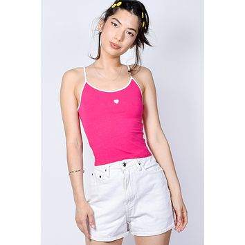 Heart On Cami - Hot Pink