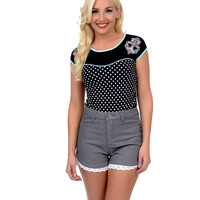 Black & White Dotted Bow Anchors Dame Top