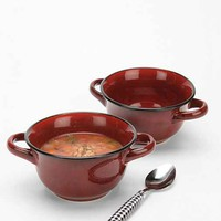 Reactive Glaze Soup Bowl Set - Maroon One