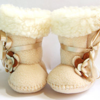 12-18-24 months old Cafe Latte Toddler Boots Ugg Style Fleece Toddler Booties with Faux Sheepskin Fur Toddler Girl Shoes