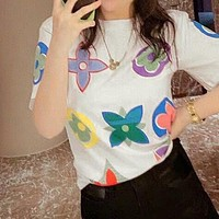 LV Louis Vuitton Newest Popular Women Men Casual Print T-Shirt Top