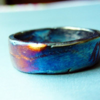 Purple/Silver Men's Wedding Band w Heavy Patina with Purples,oranges. Rustic Wedding Band Showing Natural Marks and Crinkles in the Silver