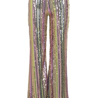 Rainbow Sequin Stripe Wide Leg Trouser | Boohoo