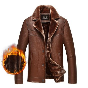 Classic Leather Fleece Jacket Winter Warm For Men Autumn Casual Male Thick Fur Collar Brown Coat New Brand Overcoat Parka Button