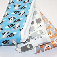 Baby Burp Cloths - Set of 3 - Happy Drawing from Cloud 9 100% Organic Fabric - Foxes, Raccoons, and Elephants