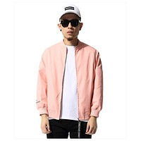 Pink Casual Men Jacket Hip Hop Loose Pink Bomber Jacket  Autumn Jacket XD021
