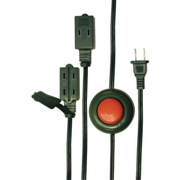 Axis 45513 2-Prong 3-Outlet Indoor Extension Cord With Foot Switch, 15Ft