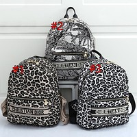 Christian Dior New Leopard Embroidered Women's Large Capacity Backpack School Bag Daypack