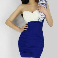 Sapphire Blue Ruffled Mini Dress