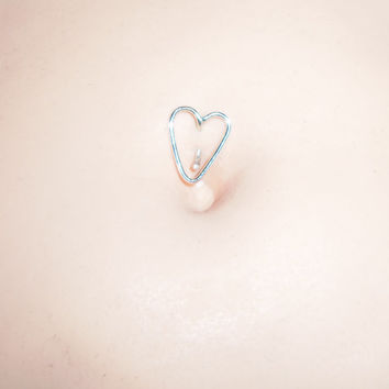 Free Shipping In The US, Heart Belly Button Ring, Sterling Silver 14,16, 18, Or 20 Gauge, Navel Jewelry