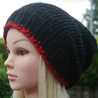 Hand Knit Hat- Women's- Men's hat- Unisex hat- Slouchy- beanie- winter hat- available in different colors