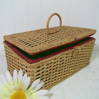 Antique Wood & Wicker Basket with Lift Open Lid and Red Cloth Interior - Vintage Primitive Crafters Decor Basket Rustic Artisan Bamboo Chest