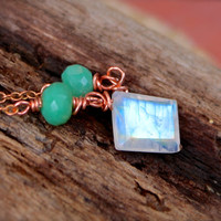 Chrysoprase & Moonstone Necklace from Hawaii Boho Jewelry Gypsy Bohemian Necklace Natural Gemstone Jewelry made in Hawaii by Mermaid Tears