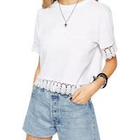White Lace Hem Crop Top