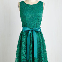Mid-length Sleeveless A-line Lovely as Lychee Dress in Emerald