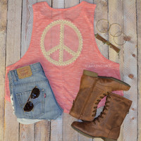 Peace Love & Lace Coral Tank Top