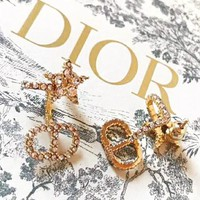Dior Newest Hot Sale Women Chic Diamond Earrings Accessories Jewelry