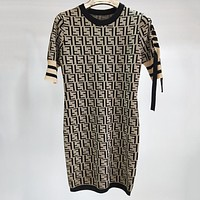 Fendi Women Fashion Casual Knitwear Maxi Dress