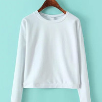 Casual Long Sleeve Short Sweatshirt