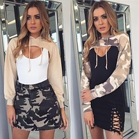 Personality Exposed Chest Ultra Short Hooded Long Sleeve Cotton Sweater Women Crop Tops