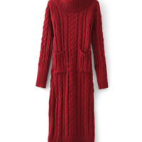 Turtleneck Twisted Pattern with Double Pocket Knitted Sweater Dress