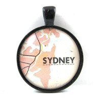 Sydney, Australia, Pendant from Vintage Map, in Glass Tile Circle