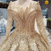 Gold Lace Applique Long Sleeve Ball Gown Wedding Dress Crystal Fringe Custom