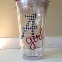 """Alabama Girl Themed Double Wall Tumbler with Houndstooth Print """"A"""""""