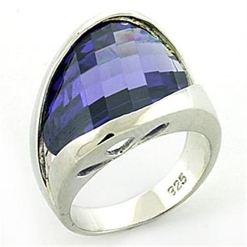 Sterling Silver Band Rings LOAS777 Rhodium 925 Sterling Silver Ring with CZ