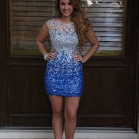Blue Beading Homecoming Dresses, Sheath Homecoming Dresses,Homecoming Dress