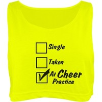 At Cheer Practice: Custom Misses American Apparel Neon Oversized Crop Top Tank Top - Customized Girl