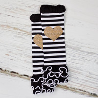 Black and White Stripe Leg Warmers with Gold Sparkly Heart | Baby & Toddler Striped Leg Warmers Glitter Gold Hearts