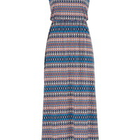 Multicolor Patterned Maxi Dress With Bar Back - Multi