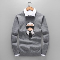 FENDI autumn and winter long-sleeved round neck men's knit loose sweater grey