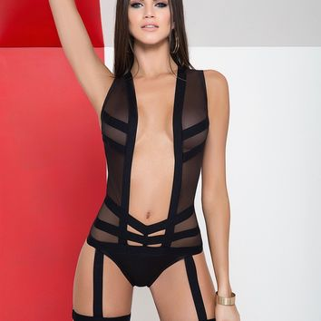 Sexy Sheer Mesh Bodysuit and Garters