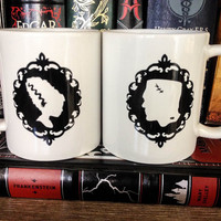 His & Hers Couples Mug Set   Coffee Cup Set   Newlywed Gift - Frankenstein's Monster and his Bride  