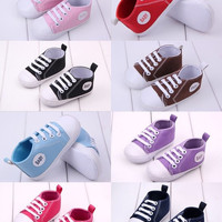 Candy Colors 1 Pair Baby Boys Girls Soft Sole Crib Canvas Shoes to 0-18Months = 6014685767