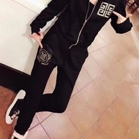 """Givenchy"" Women Casual Fashion Hot Fix Rhinestone Letter Pattern Long Sleeve Zip Cardigan Trousers Set Two-Piece Sportswear"